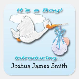 Det är en pojkeStork, födelsemeddelande Fyrkantigt Klistermärke