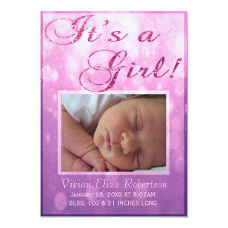 Det är ett födelsemeddelande | för flicka | 12,7 x 17,8 cm inbjudningskort