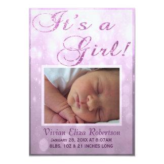 Det är ett födelsemeddelande för flicka | 12,7 x 17,8 cm inbjudningskort