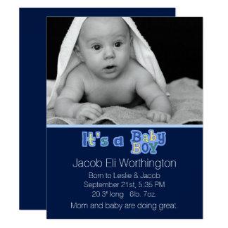 Det är ett pojkefödelsemeddelande 10,8 x 14 cm inbjudningskort