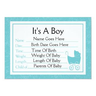 Det är ett pojkefödelsemeddelande 12,7 x 17,8 cm inbjudningskort