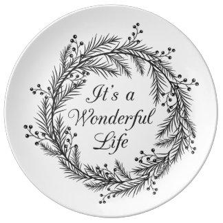 Det är ett underbart liv - den dekorativa julen porslinstallrik