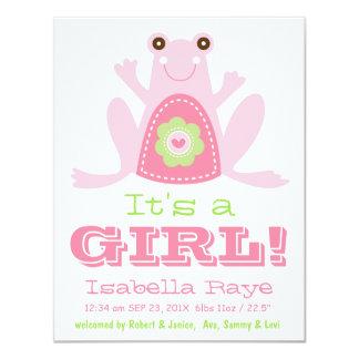 Det är för rosagrönt för FLICKA en gullig nyfödd 10,8 X 14 Cm Inbjudningskort