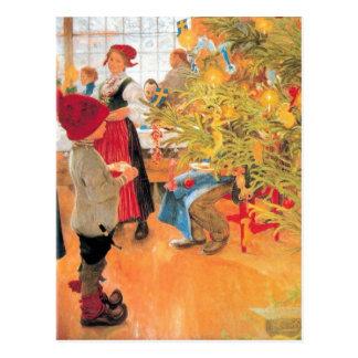 Det är jul tajmar igen - pojken tittar träd vykort