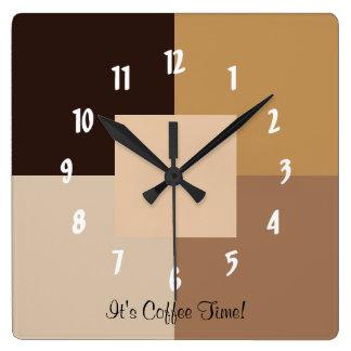 Det är kaffe Time! Fyrkantig Klocka