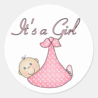 Det är klistermärkear för en flicka runt klistermärke