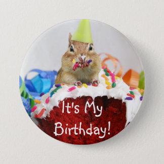 Det är min födelsedag! Jordekorren knäppas Mellanstor Knapp Rund 7.6 Cm