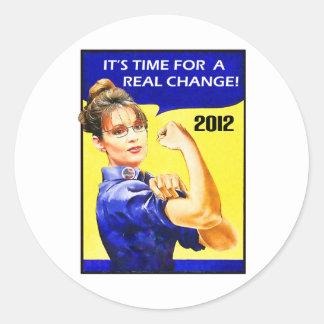 Det är Time för en ändring - Sarah Palin Runt Klistermärke
