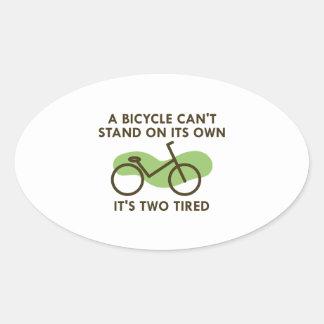 Det är tröttade två ovalt klistermärke
