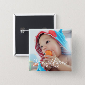 Det beställnings- fotoet med namn och daterar standard kanpp fyrkantig 5.1 cm