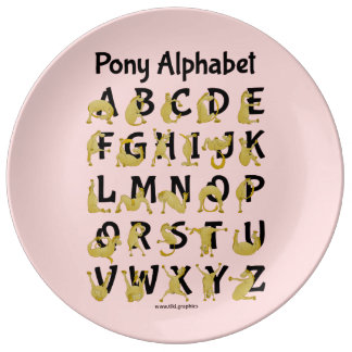Det böjliga alfabetet för ponny | kartlägger porslinstallrik