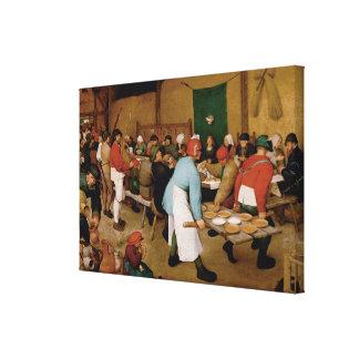 Det bondaktiga bröllop av Pieter Bruegel fläderen Canvastryck