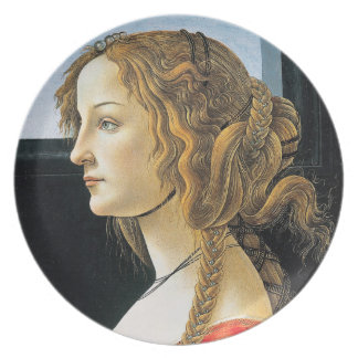 Det Botticelli porträtt av en ung kvinna pläterar Tallrik