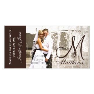 Det bruna brölloptackfotoet Cards mallen Fotokort