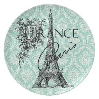 Det Eiffel för vintageParis frankriken torn pläter Tallrik