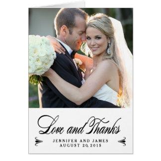 Det eleganta gifta sig tackfotoet för tack   OBS kort