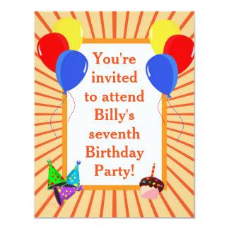 Det färgglada partyet sväller 10,8 x 14 cm inbjudningskort