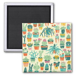 Det färgrika kaktusblommamönster kvadrerar magnet