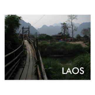 Det fridfulla Laos berg, floden, överbryggar South Vykort