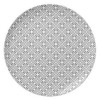 Det geometriska diamantmönster pläterar tallrik