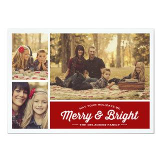 Det glada & ljusa fotoet för Ruby 3 Julhälsningar 12,7 X 17,8 Cm Inbjudningskort
