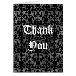 Det gotiska grungy bröllopmönster tackar dig att hälsnings kort