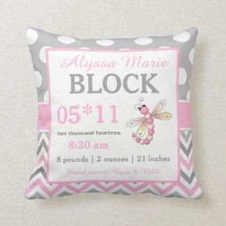 Det gråa rosa sländababymeddelandet kudder dekorativ kudde