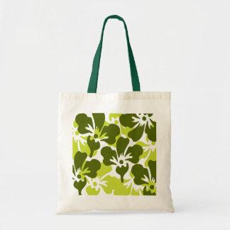 Det gröna blom- tropiska trycket för hänger lös tygkasse