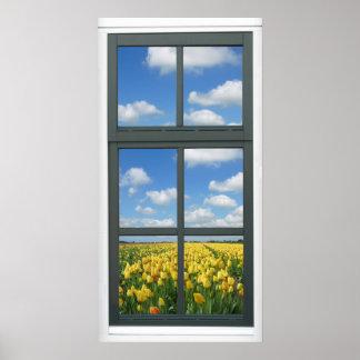 Det gula fönstret för tulpanblå himmelvåren beskåd affischer