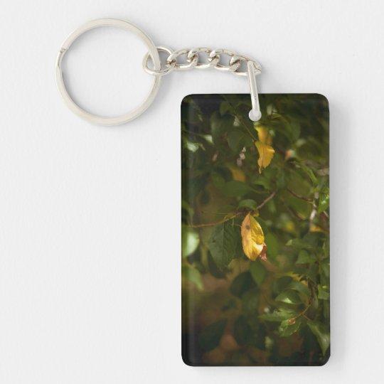Det gula löv rektangulärt dubbelsidigt nyckelring i akryl