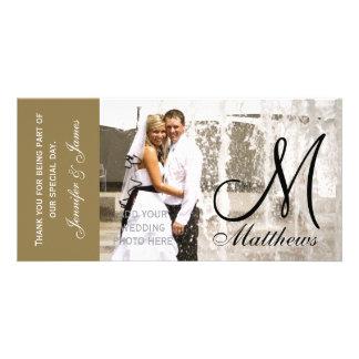 Det guld- brölloptackfotoet Cards mallen Anpassade Foto Kort