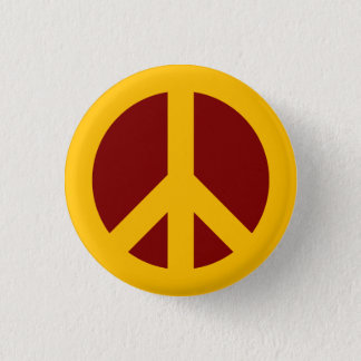 Det guld- och rödbruna fredsymbolet knäppas mini knapp rund 3.2 cm