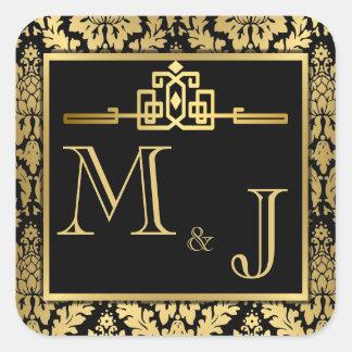 Det guld- romanska art décokuvertet förseglar fyrkantigt klistermärke