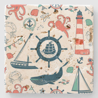 Det gulliga färgrika nautiska mönster med fartyget underlägg sten