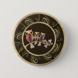Det gulliga flott trycket för ugglajuvelfotoet standard knapp rund 5.7 cm