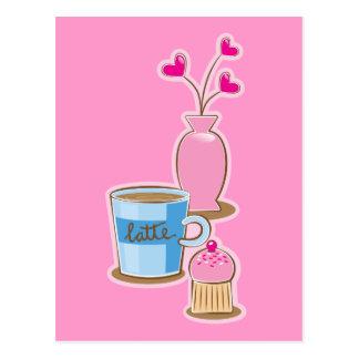Det gulliga kaffeavbrottet med latte blommar vykort