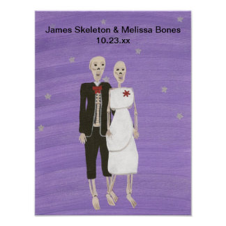 Det Halloween skelett kopplar ihop bröllopaffische Affisch
