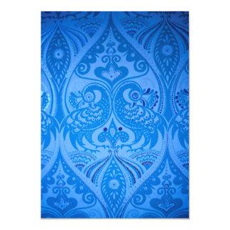 det härliga mönster för vintagefågelblått avbildar 12,7 x 17,8 cm inbjudningskort