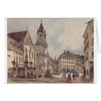 Det huvudsakligt kvadrerar i Bratislava av Rudolf Hälsningskort