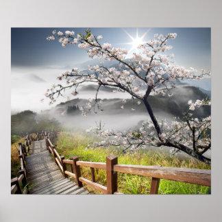 Det japanska körsbäret landskap affischen poster