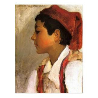 Det John Sargent- huvudet av en Neapolitan pojke Vykort