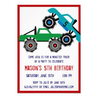 Det kalla monster åker lastbil födelsedagsfest 12,7 x 17,8 cm inbjudningskort