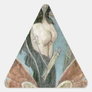 Det känslosamma påbörjandet vid Felicien Rops Triangelformat Klistermärke