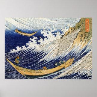 Det Katsushika Hokusai hav vinkar Poster
