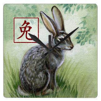 Det kinesiska Zodiacåret av kaninväggen tar tid på Fyrkantig Klocka