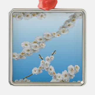 Det Korea körsbäret blomstrar vit Julgransprydnad Metall