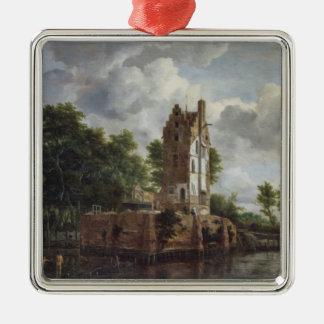 Det kyrkliga torn julgransprydnad metall