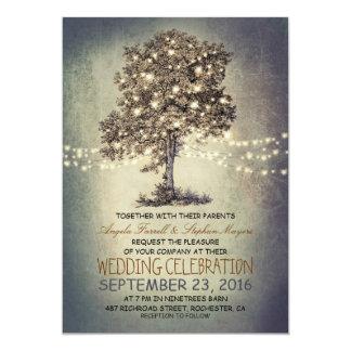 Det lantliga träd & stränger ljus som gifta sig 12,7 x 17,8 cm inbjudningskort
