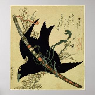 Det lite korpsvart med det Minamoto klansvärd Poster