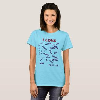 Det mång- språket älskar jag vinskjortan t-shirt